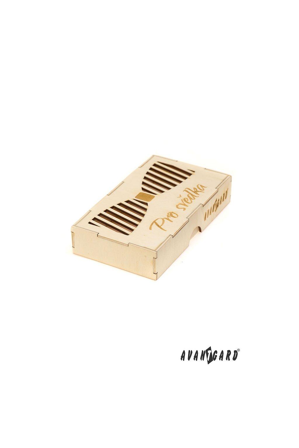 Dřevěná dárková krabička na motýlek Pro svědka přírodní dřevo 925 - 3717