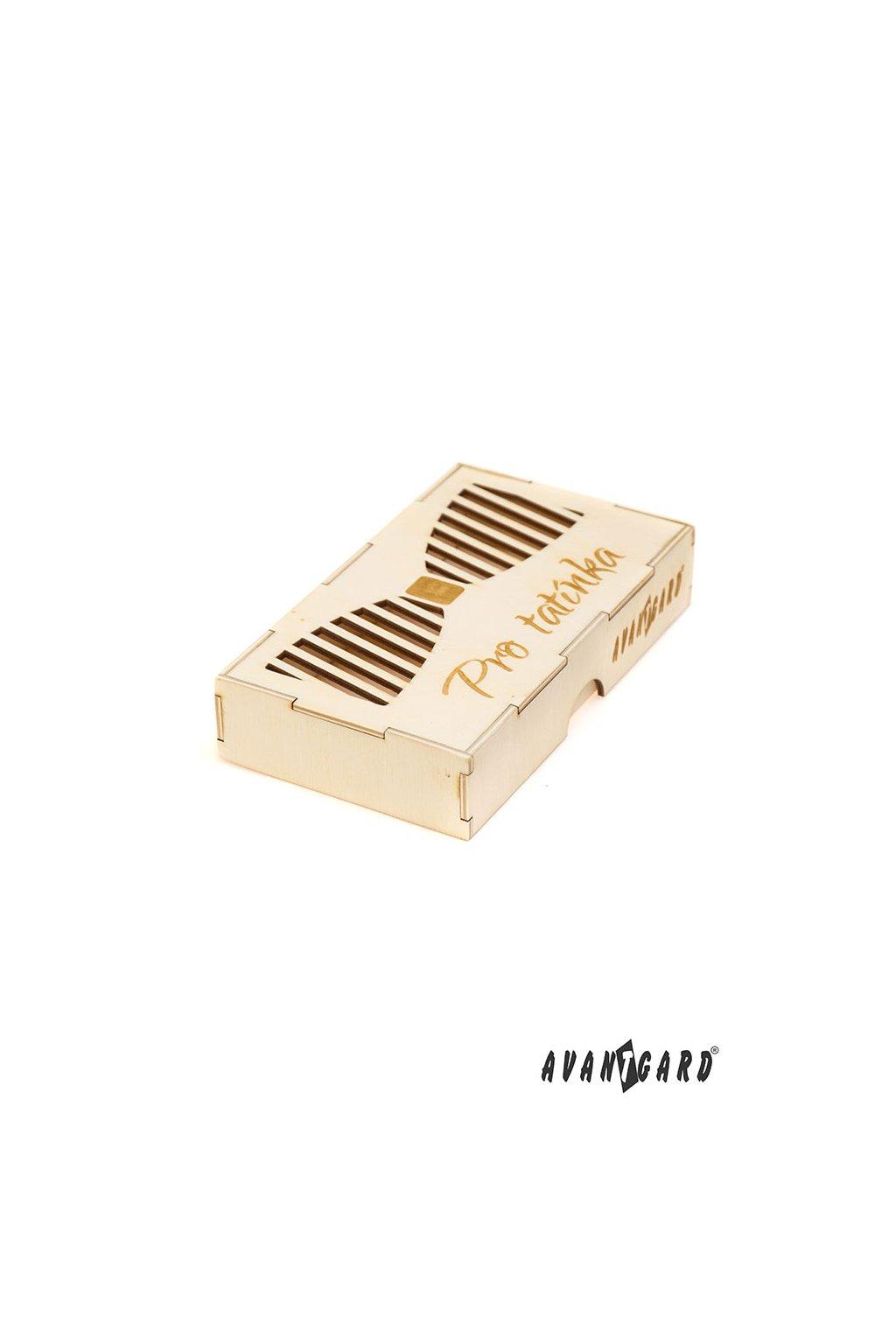 Dřevěná dárková krabička na motýlek Pro tatínka přírodní dřevo 925 - 3718