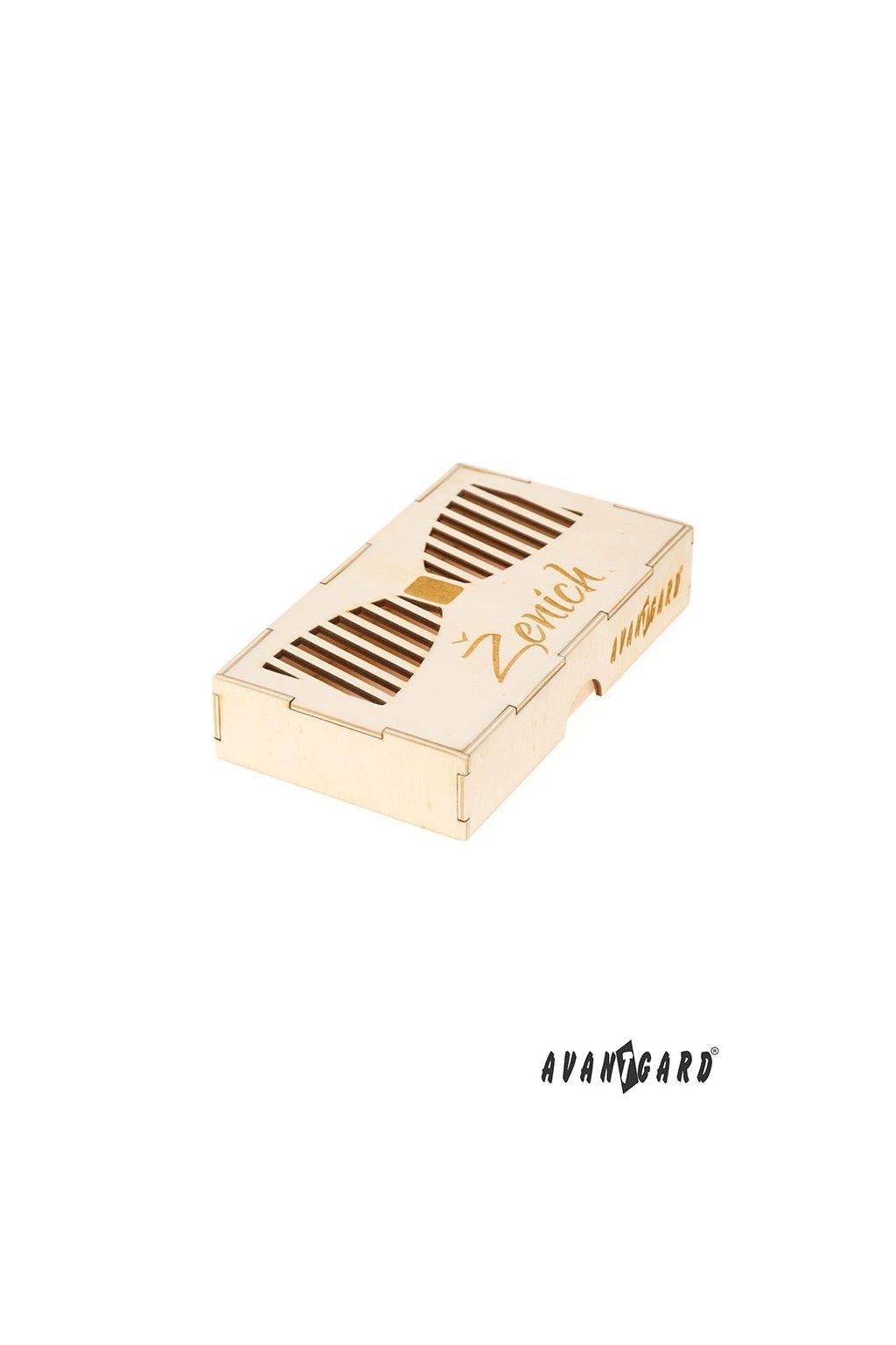 Dřevěná krabička na motýlek Ženich přírodní dřevo 925 - 3722