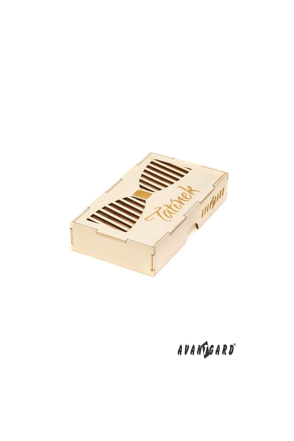 Dřevěná dárková krabička na motýlek Tatínek přírodní dřevo 925 - 3724