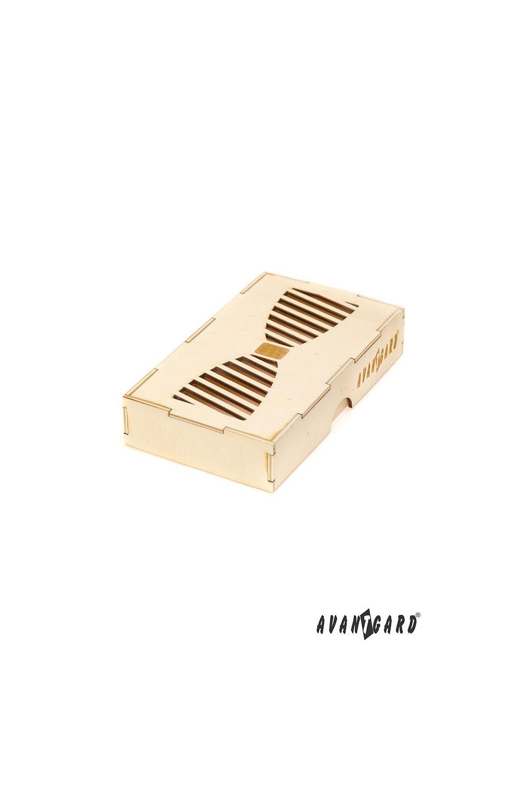 Dřevěná dárková krabička na motýlek přírodní dřevo 925 - 3730