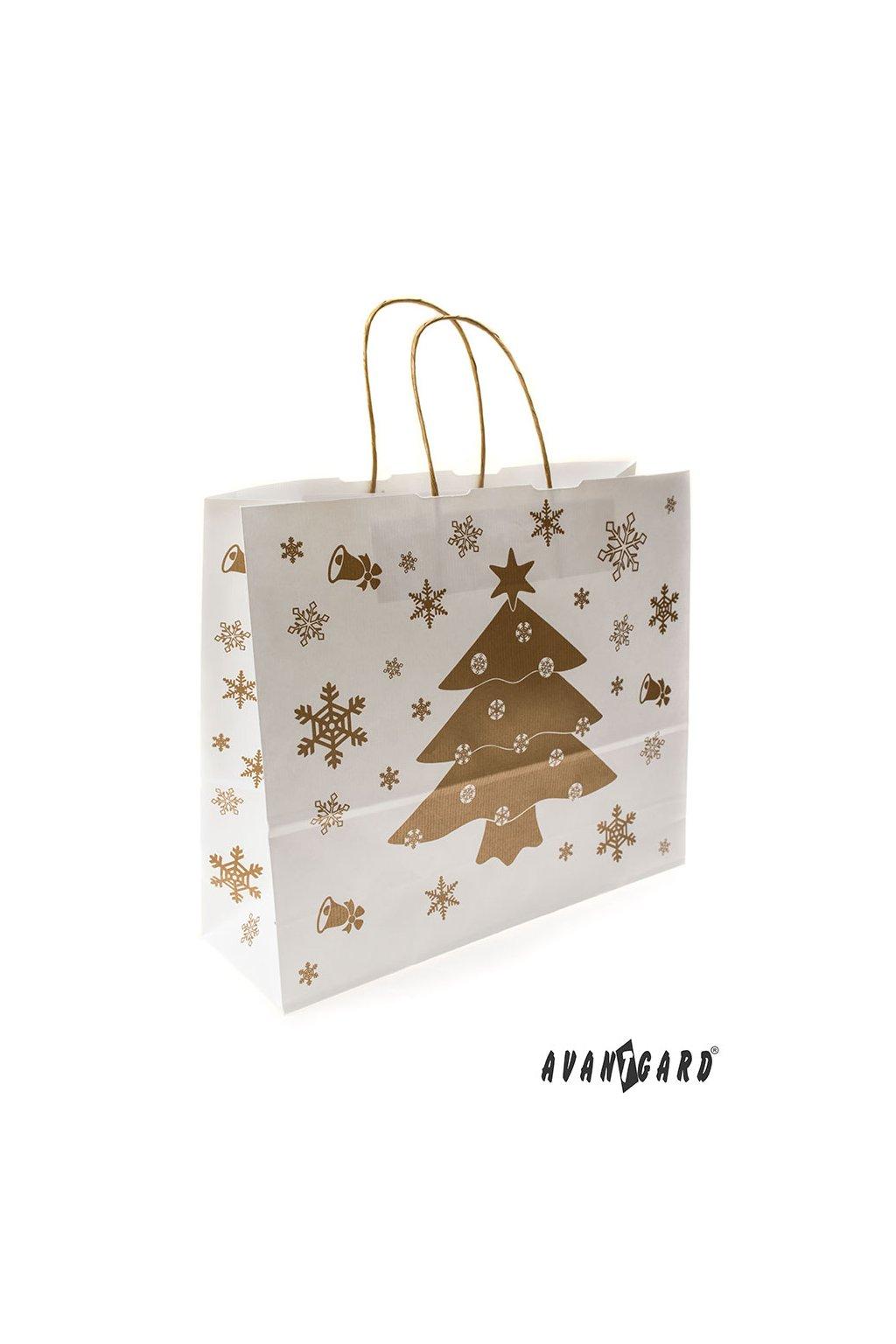 Vánoční dárková taška 360 x 120 x 310 mm bílá/zlatá 939 - 1