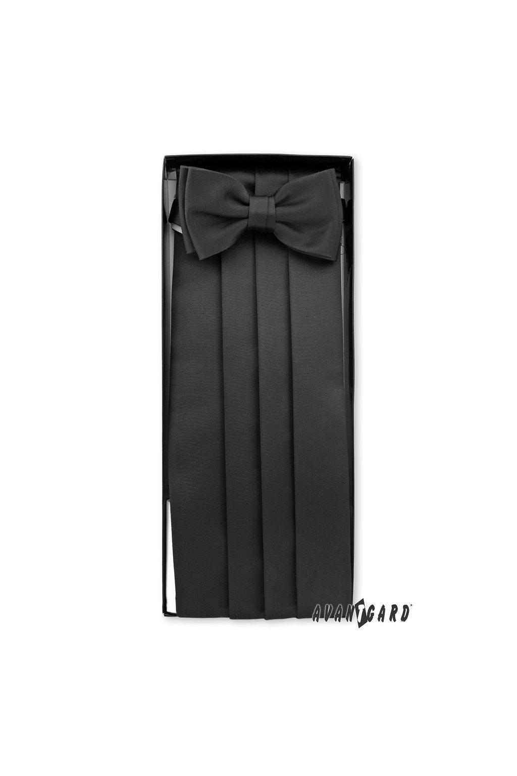 Frakový pás s motýlkem a kapesníčkem černá 953 - 23