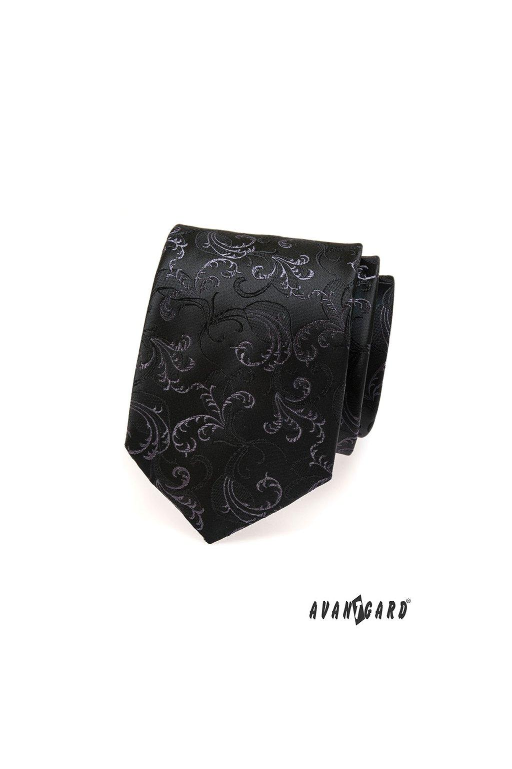 Černá luxusní kravata s plastickým ornamentem 561 - 13