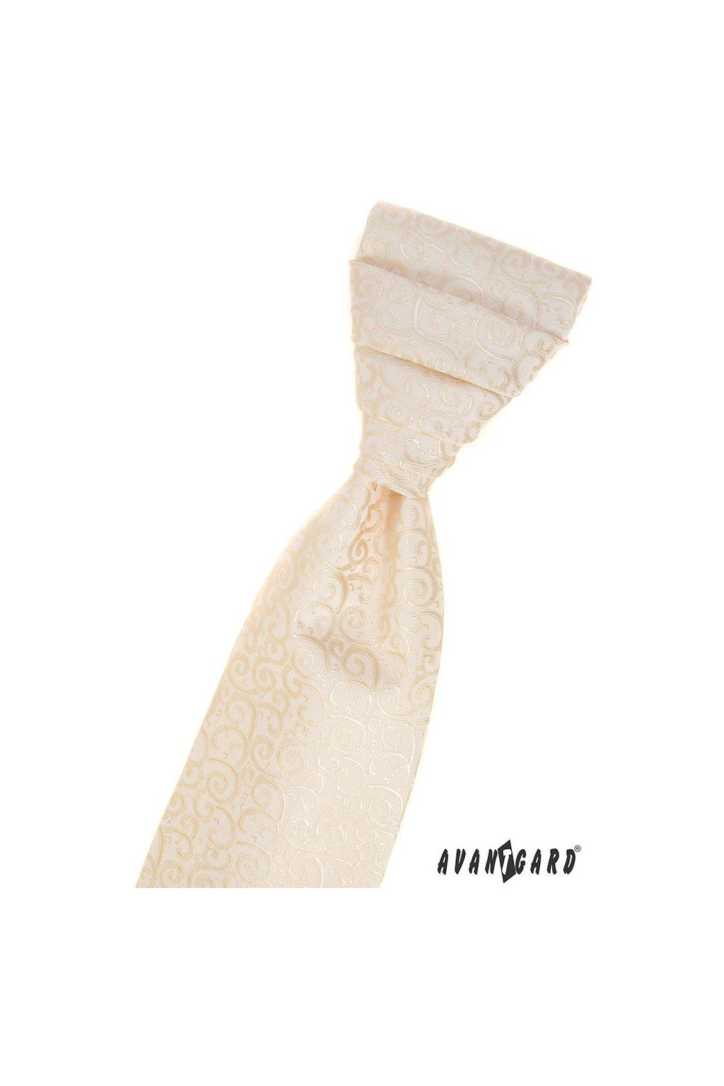 Svatební smetanová regata PREMIUM se vzorem s kapesníčkem 577 - 58