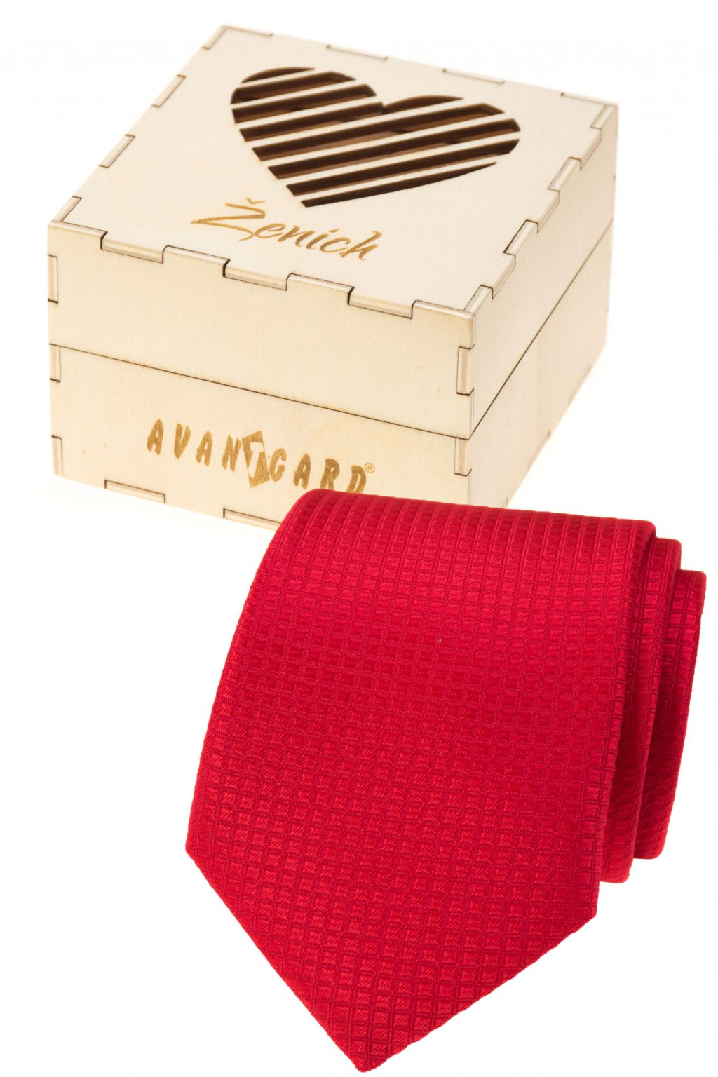 Dárkový set Ženich - Kravata v dárkové dřevěné krabičce s nápisem červená, přírodní dřevo 919 - 37222
