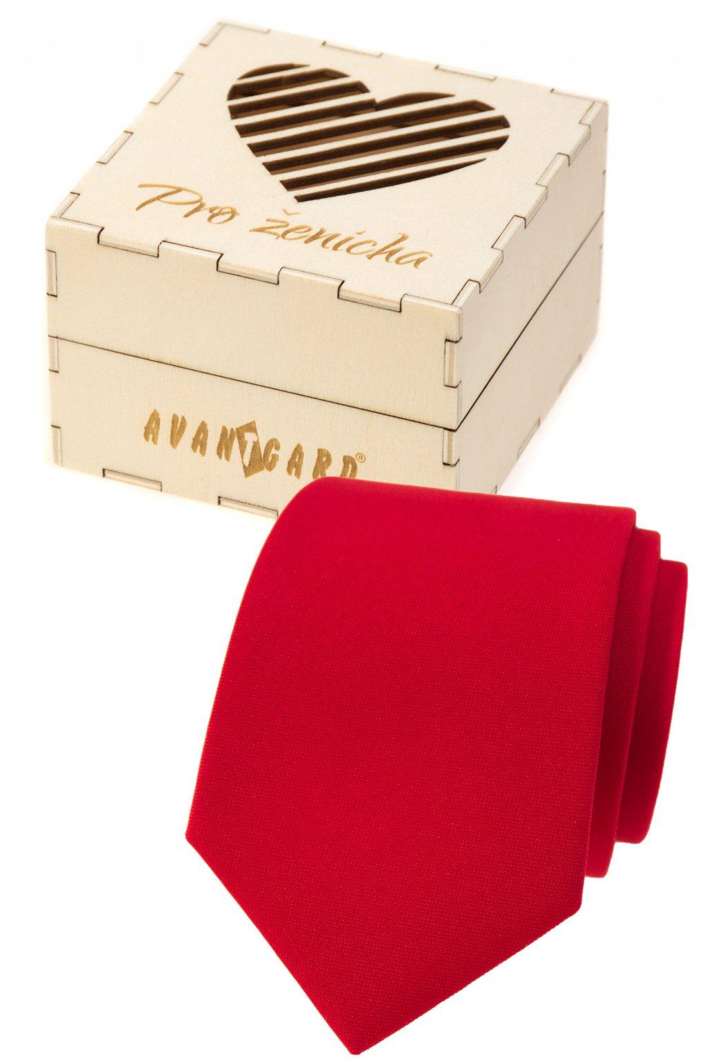 Dárkový set Pro ženicha - Kravata LUX v dárkové dřevěné krabičce s nápisem červená, přírodní dřevo 919 - 985720