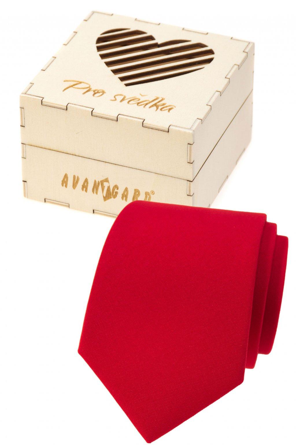 Dárkový set Pro svědka - Kravata LUX v dárkové dřevěné krabičce s nápisem červená, přírodní dřevo 919 - 985721