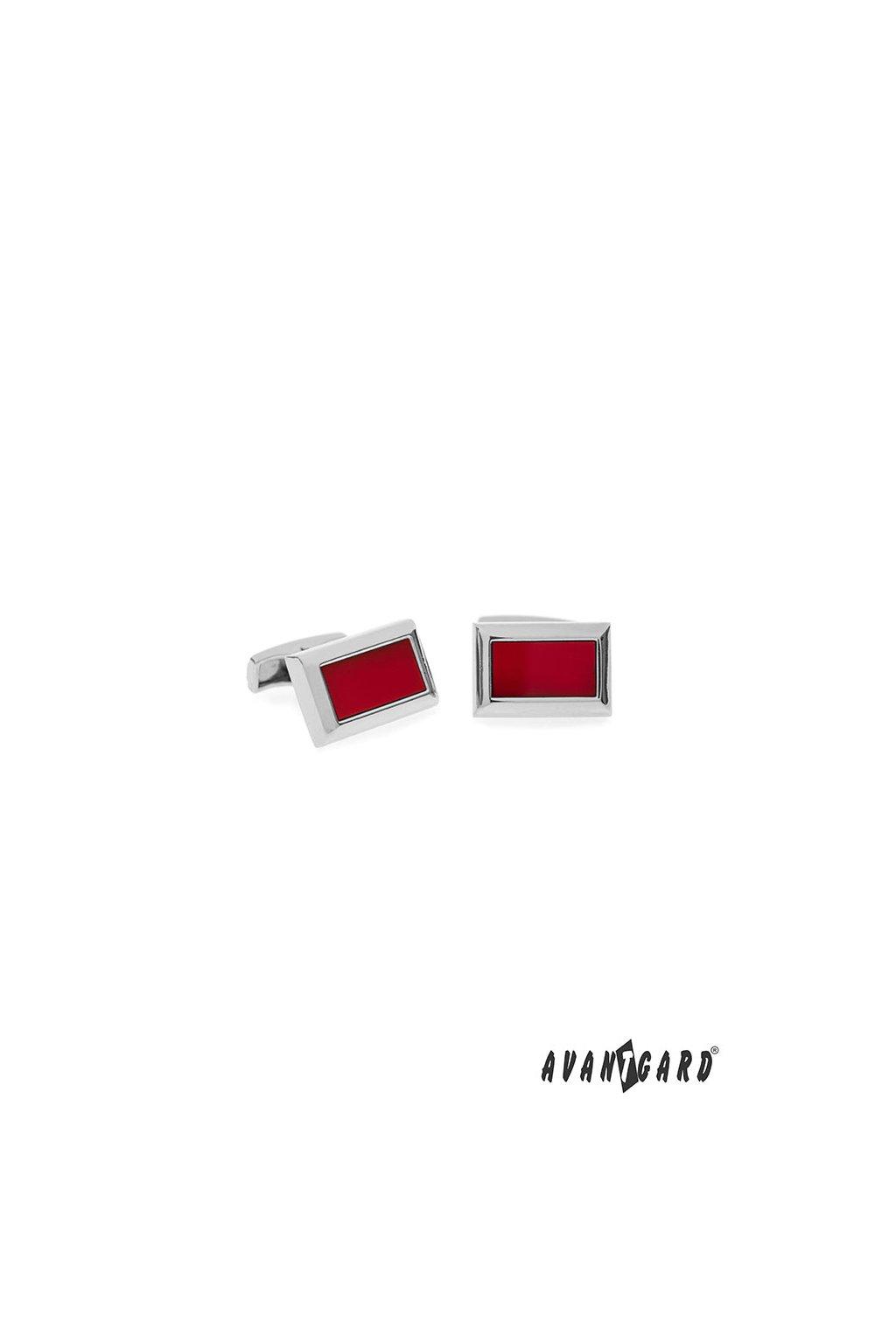 Manžetové knoflíčky PREMIUM stříbrná lesk/červená 573 - 20661