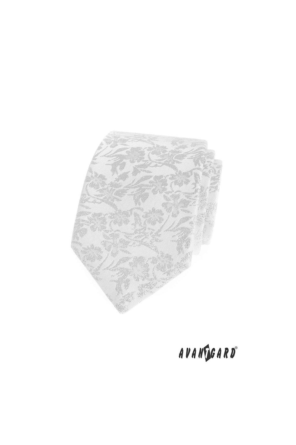 Bílá luxusní kravata s ornamentem 561 - 81184