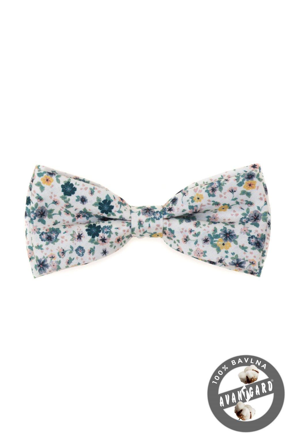 Motýlek PREMIUM bavlněný bílá/tyrkysová 600 - 51033