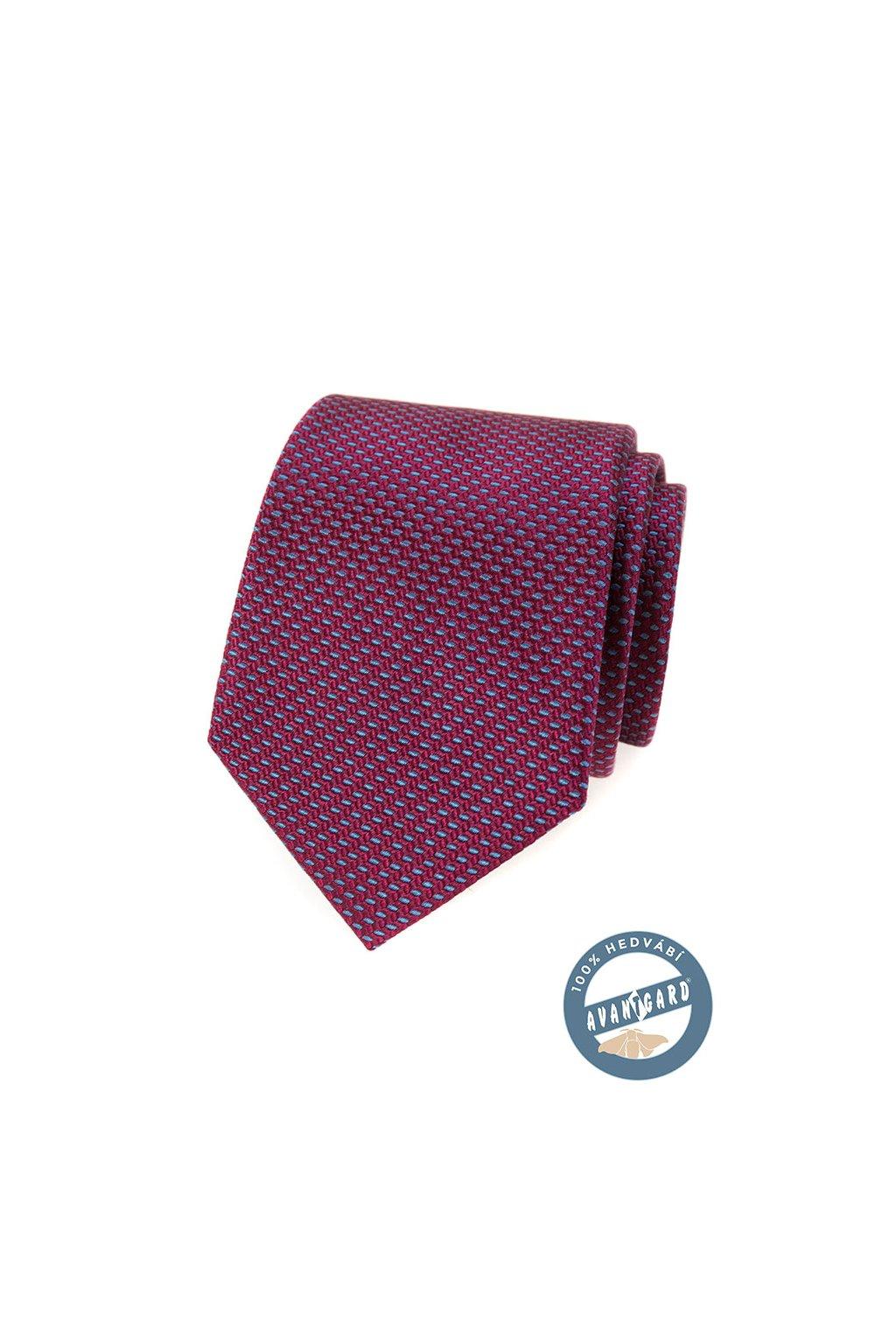 Kravata hedvábná v dárkové krabičce bordó 621 - 7752