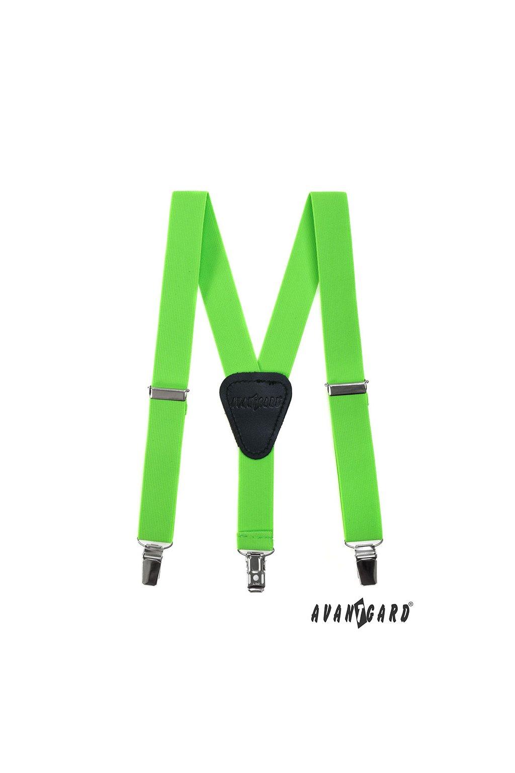 Chlapecké šle Y s koženým středem a zapínáním na klipy - 25 mm zelená neon, černá kůže 862 - 902623
