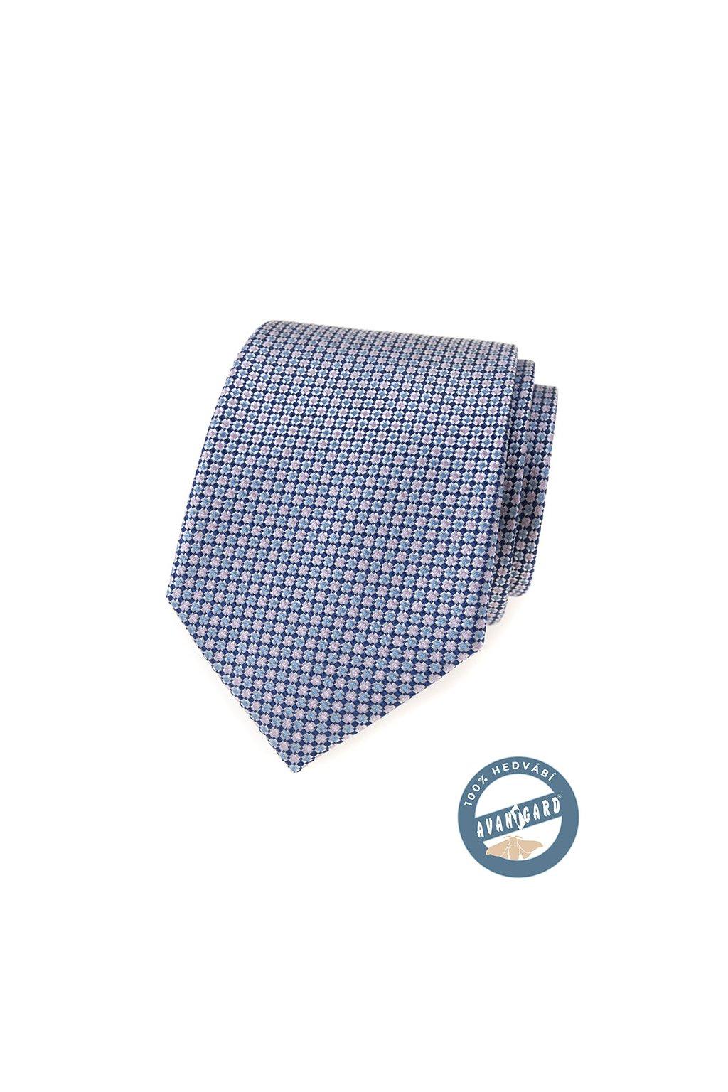 Modrá hedvábná kravata se světlým vzorkem 621 - 7743