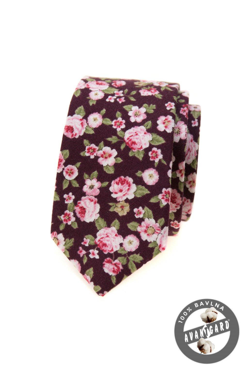 Bordó kravata SLIM s květy 571 - 51022