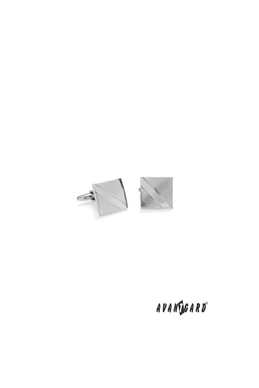 Manžetové knoflíčky PREMIUM stříbrná mat/lesk 573 - 20586