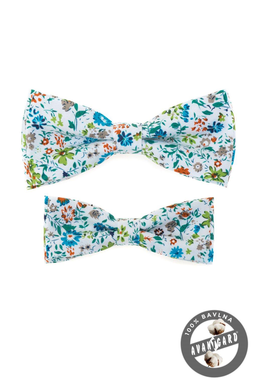 Bílá květinová sada bavlněných motýlků Otec a syn 775 - 5194