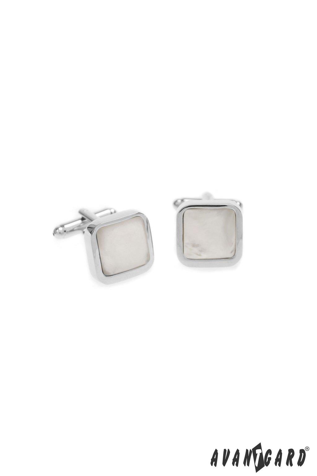 Manžetové knoflíčky PREMIUM stříbrná lesk/perleťová 573 - 20785