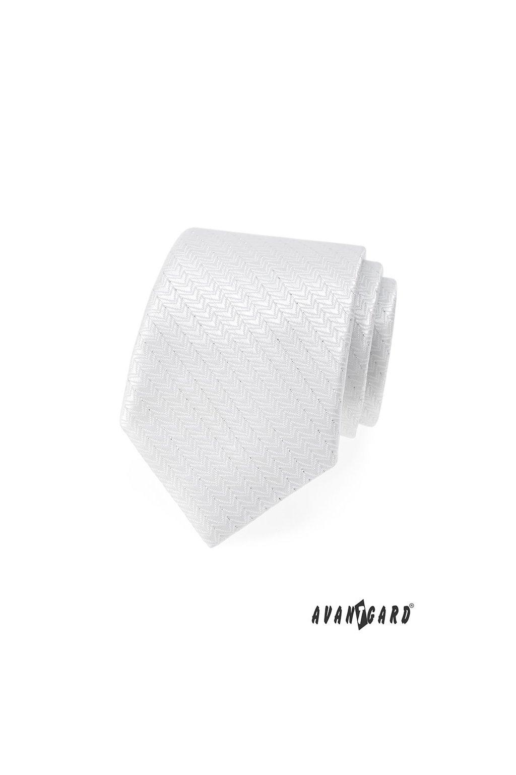 Bílá luxusní kravata s jemným prošíváním 561 - 9320