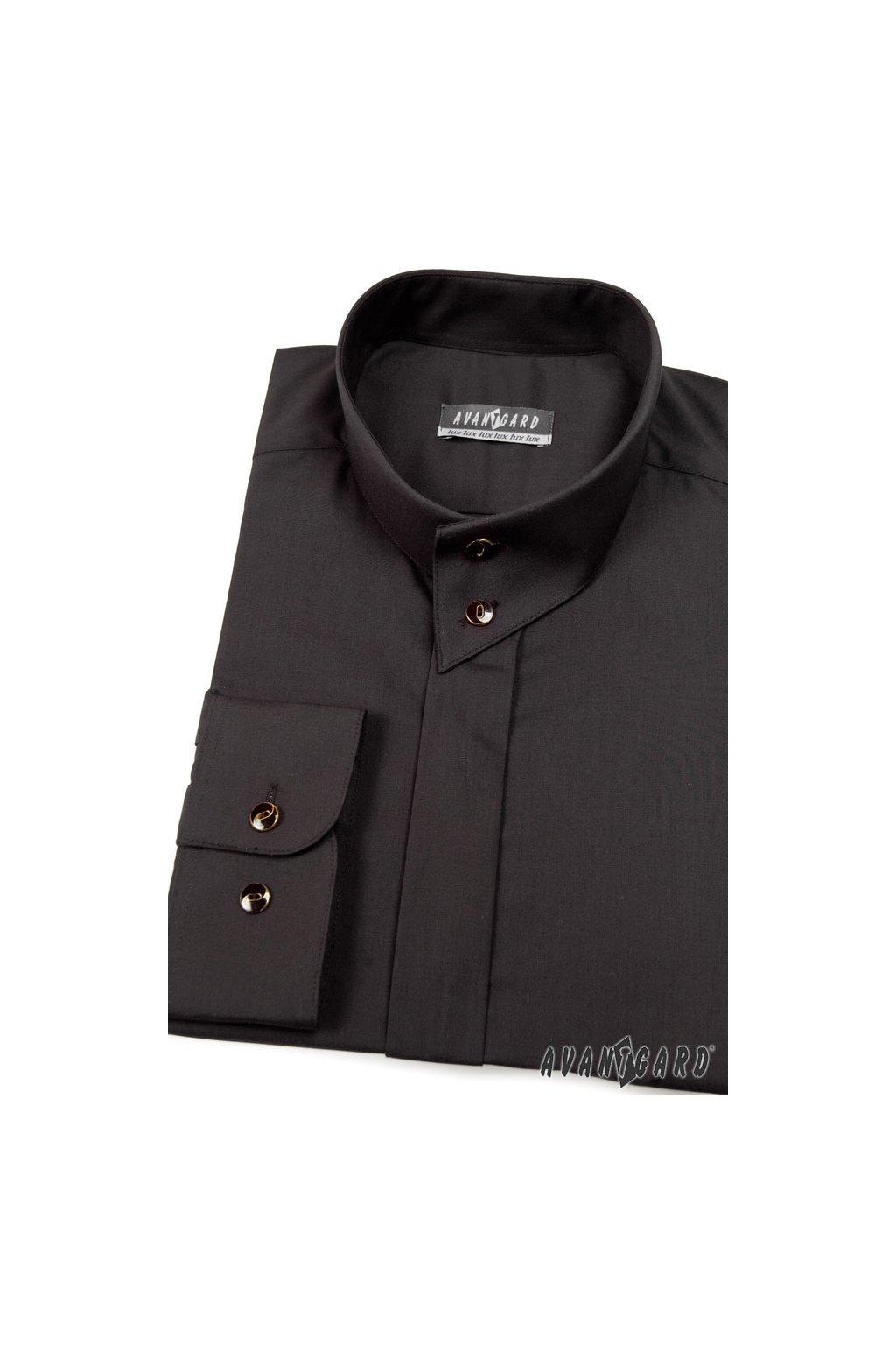 Pánská košile se stojáčkem na 2 knoflíky, dl.rukáv v23-černá 452 - 23