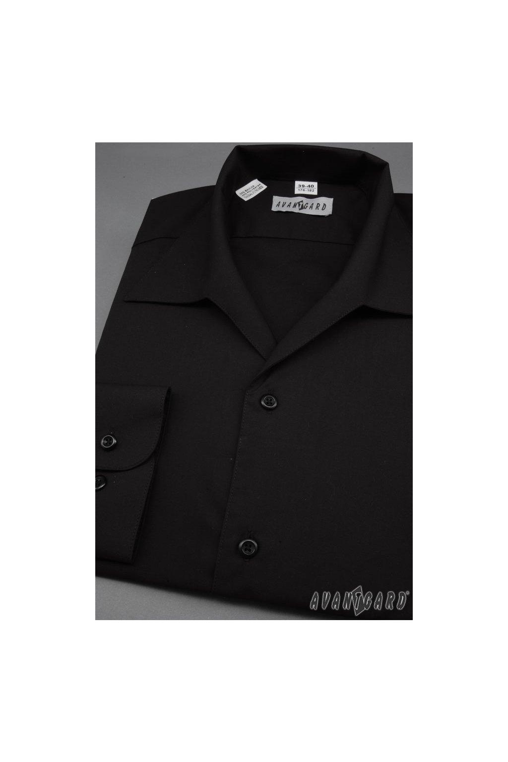 Pánská košile s rozhalenkou, dl.rukáv v23-černá 457 - 23