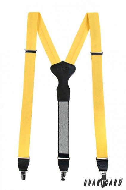 Látkové šle Y s koženým středem a zapínáním na klipy - 35 mm - v dárkovém balení žlutá, černá kůže 878 - 982623