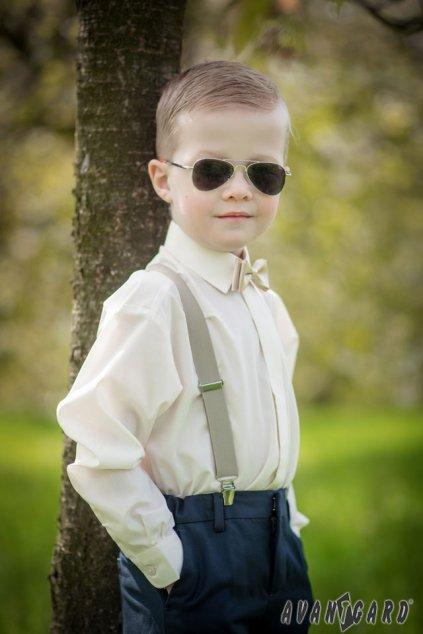 Chlapecká košile KLASIK s krytou légou smetanová 458 - 2