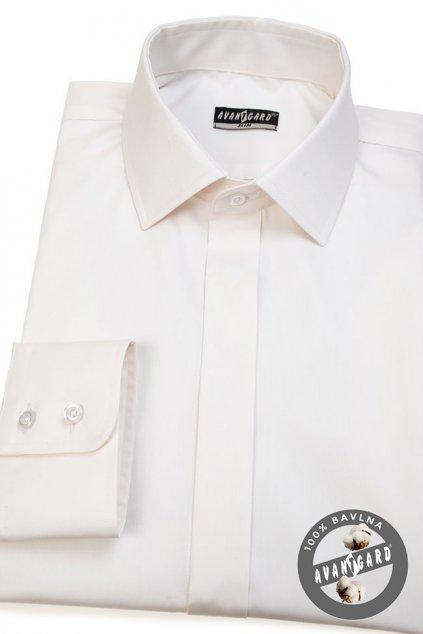 Pánská košile SLIM kr.léga smetanová 132 - 206