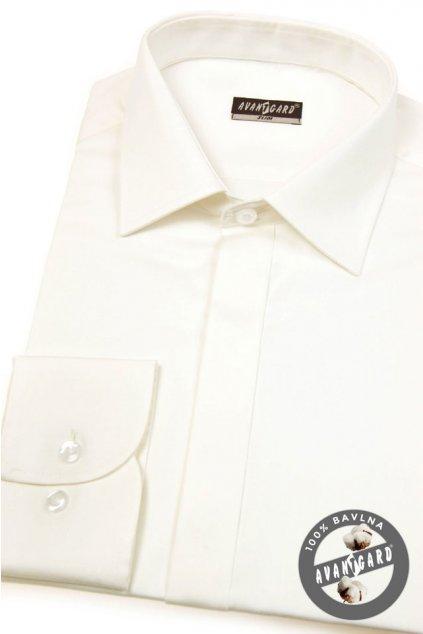 Pánská košile SLIM kr.léga smetanová hladká s leskem 172 - 222