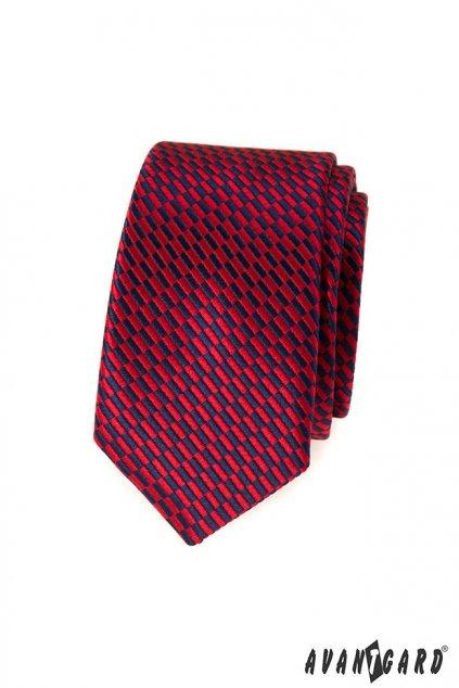 Červená kravata Slim se vzorem 551 - 359