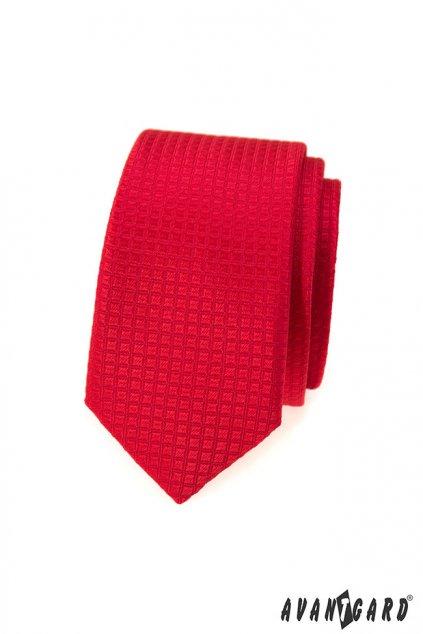 Červená kravata Slim vroubkovaná 551 - 372