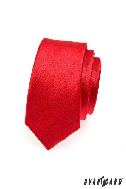Červená kravata Slim lesklá 551 - 758