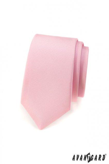 Růžová kravata Slim matná 551 - 7609