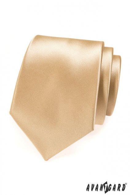 Pánská luxusní kravata béžová ve zlatavém odstínu 561 - 14904