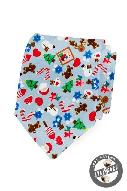 Světle modrá vánoční kravata 561 - 5041