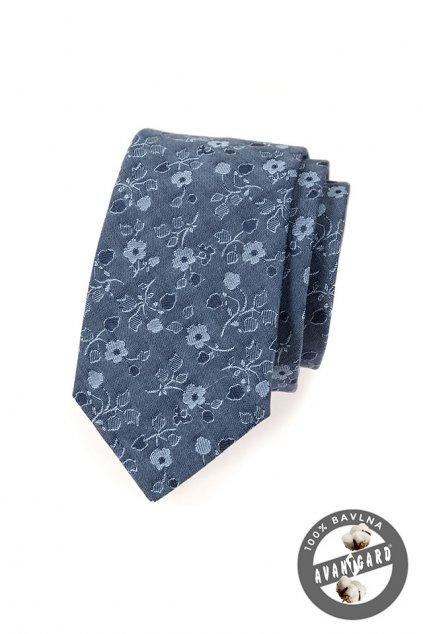 Modrá luxusní kravata s květinou 561 - 5081
