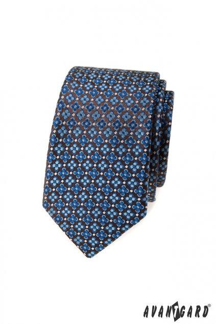 Kravata SLIM LUX modrá/hnědá 571 - 81308