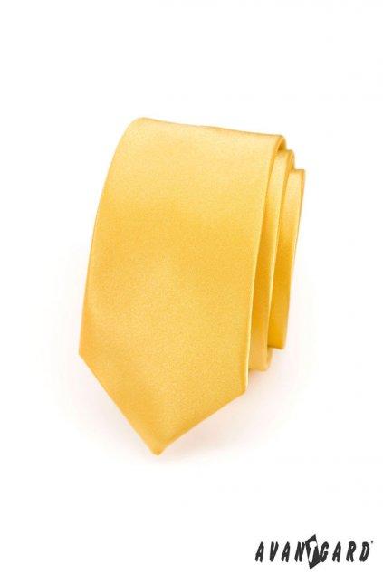 Kravata SLIM LUX žlutá 571 - 9027