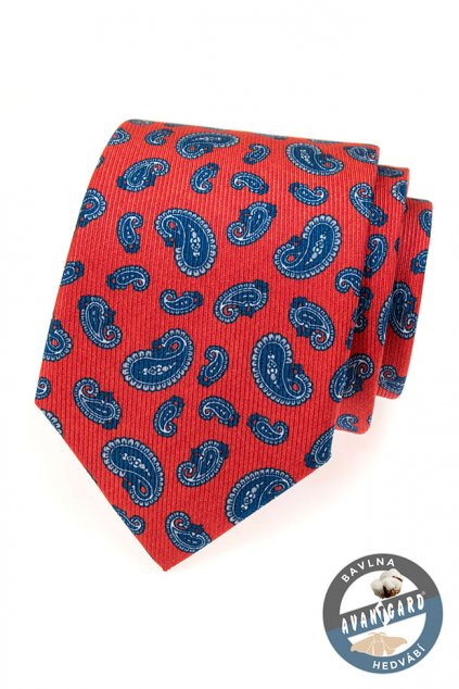 Červená kravata s modrými ornamenty 620 - 62905