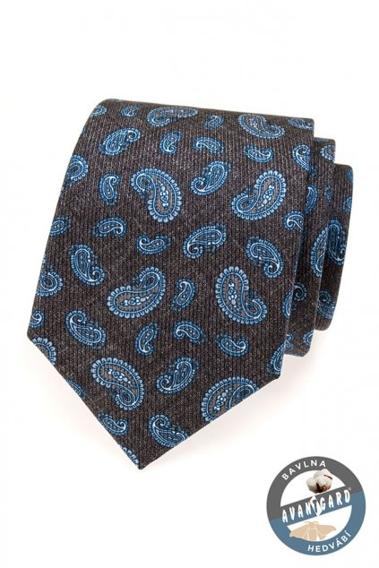 Hnědá kravata s modrými ornamenty 620 - 62907
