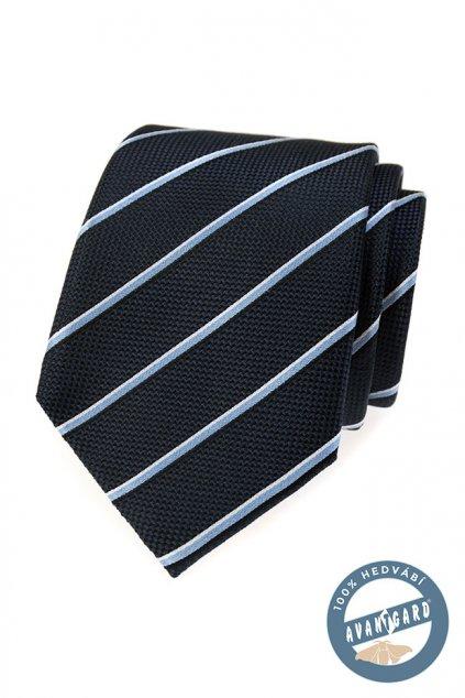 Tmavě modrá hedvábná kravata s proužkem 621 - 7720