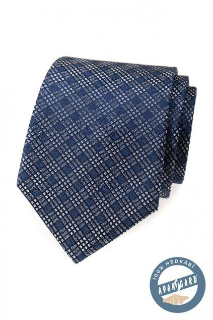 Modrá hedvábná kravata s bílými proužky 621 - 7736