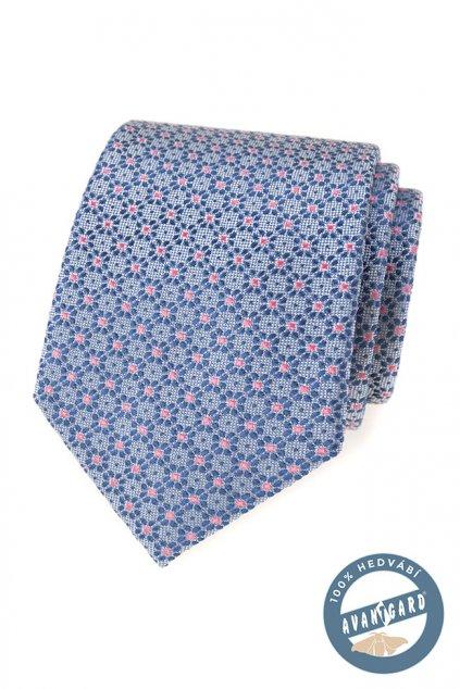 Kravata hedvábná v dárkové krabičce modrá 621 - 7741