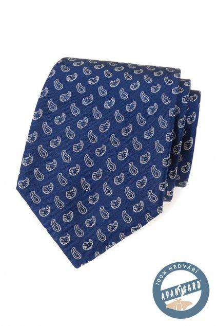 Modrá hedvábná kravata s ornamenty 621 - 7745