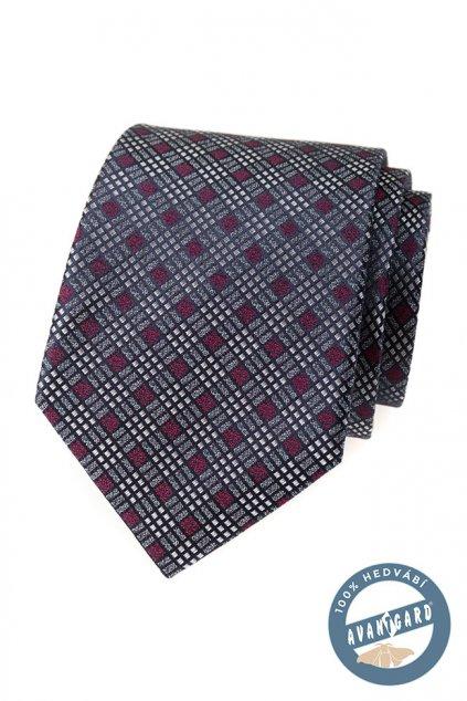 Šedá hedvábná kravata se vzorkem 621 - 7748