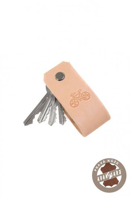 Klíčenka z pravé kůže s ražbou kola béžová/kolo 805 - 1205