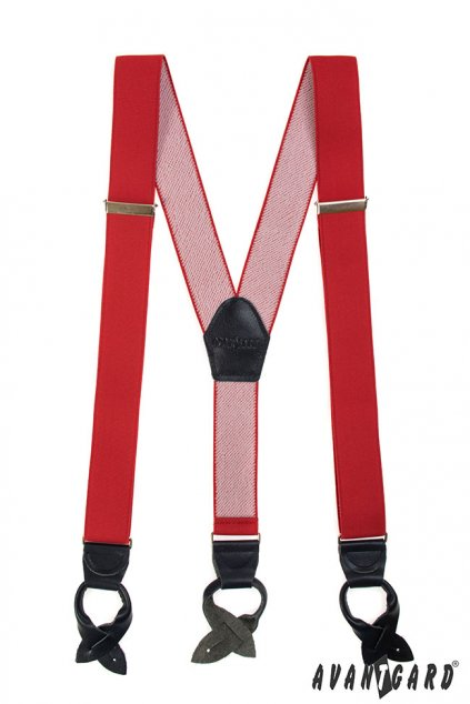 Červené kšandy na knoflíky Y 874 - 1223