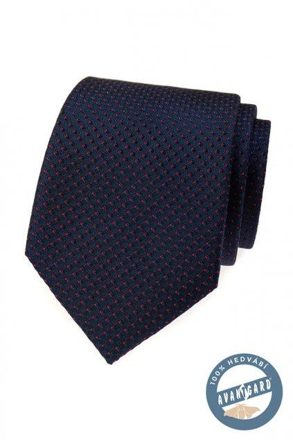 Tmavě modrá hedvábná kravata s tečkou 621 - 7722