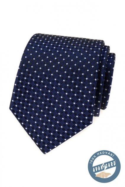 Modrá hedvábná kravata s bílým vzorkem 621 - 7739