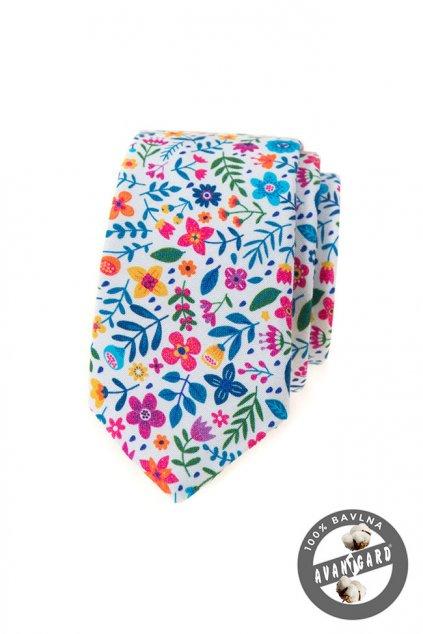 Pánská luxusní kravata SLIM bílá 571 - 237